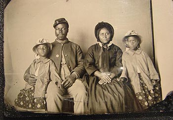 black soldier with family